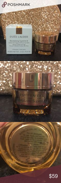 Estée Lauder Revitalizing Supreme+ Eye Balm Revitalizing Supreme+Global Anti-Aging Cell Power Eye Balm is the your key to younger-looking Eyes. The richly nourishing, multi-action balm significantly improves visible firmness & elasticity, and reduces the look of lines, wrinkles, puffiness and dark circles. Includes powerful RevitaKey Technology featuring an exclusive Moringa Extract. For an added boost, can also be used as weekly eye mask. NEW & UNUSED. Thank you for shopping my closet I…