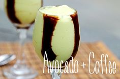 Avocado Coffee: Blend 1/2 avocado with 1 cup brewed coffee (cooled), 1/2 cup sweetened condensed milk 2 tsp vanilla and ice cubes.