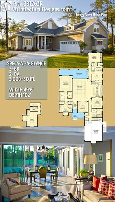 Architectural Designs House Plan 33126ZR has 3+ beds | 2+ baths | 3,000+ square feet of heated living space. Ready when you are. Where do YOU want to build? #33126zr #adhouseplans #architecturaldesigns #houseplan #architecture #newhome #newconstruction #newhouse #homedesign #dreamhouse #homeplan #architecture #architect #houses #southern #traditional