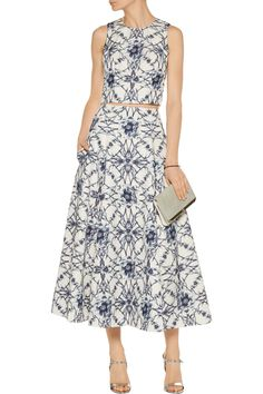 Shop on-sale Marchesa Notte Printed cotton and silk-blend midi skirt. Browse other discount designer Skirts & more on The Most Fashionable Fashion Outlet, THE OUTNET.COM