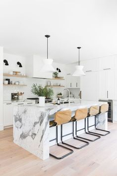 Modern Kitchen Interior Remodeling Light, natural, modern white kitchen with leather stools and a thick marble island, natural wood open shelving, concrete hood Rustic Kitchen, New Kitchen, Kitchen Dining, Kitchen Ideas, Dining Room, White Kitchen Decor, Kitchen Floor, Rustic Farmhouse, Modern Kitchen Design