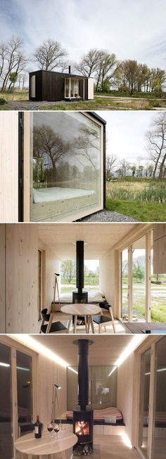 The Belgian tiny house, Ark Shelter, is a sleek minimalist tiny house with a full wall window on one end and large accordion doors that open onto a deck.