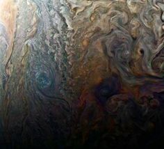 Images from NASA& Juno mission. Juno will improve our understanding of the solar system& beginnings by revealing the origin and evolution of Jupiter. Jupiter Photos, Nasa Juno, Juno Spacecraft, Space Probe, Gas Giant, Colorful Clouds, White Clouds, Advantages Of Solar Energy, Nature