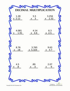 math worksheet : decimal multiplication worksheets  decimal multiplication  : Multiplication Of Decimals Worksheet