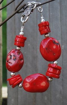 Chunky Red Bamboo Coral Bracelet with Sterling by meadowsjewelry, $31.00