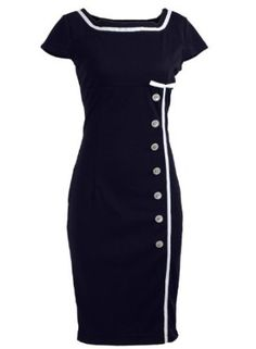 Amazon.com: Navy Blue Sailor Nautical Pinup Rockabilly Vintage Retro Pencil Women's Dress: Clothing