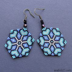 "Earrings ""Cornflower"" (I just like these brick stitch earrings!)"