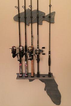 Fishing Pole Holder/ Fishing Pole Rack wood