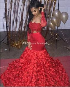 Sexy Red Mermaid Prom Dresses 2019 Cutaway Sides Appliques Flowers Train African Long Sleeves Evening Dress For Black Girls Black Girl Prom Dresses, Tight Prom Dresses, Long Sleeve Evening Dresses, Mermaid Prom Dresses, Homecoming Dresses, Sexy Dresses, Stunning Prom Dresses, Vintage Prom, Vintage Hats