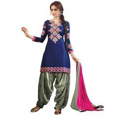 Latest Blue and Grey Embroidered Dress Material with Dupatta On Smartdeals4u.com