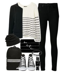 """""""Outfit for college with a Casetify computer sleeve and watch"""" by ferned ❤ liked on Polyvore featuring Paige Denim, Casetify, adidas, MANGO, Tomas Maier, Leith, Converse and Pandora"""