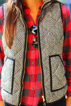 love the herringbone vest. super cute with the plaid too.