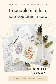 Paint With Me - Traceable Watercolor eBook VOLUME 2 — Nicki Traikos | life i design | Learn Watercolor Painting, Watercolor Beginner, Watercolor Paper, Botanical Drawings, Some Fun, Bouquet, Digital, Floral, Life