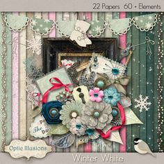 WINTER WHITE  Digital Scrapbooking Kit  22 by opticillusions, $5.00