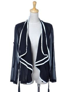 $21.00 cool Anna-Kaci S/M Fit Sheer Black Chiffon L/S Cardigan w Color Contrast White Trim