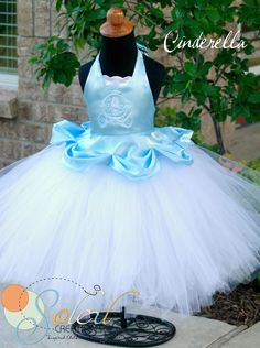 Cinderella Tutu Dress Outfit by SCbydesign on Etsy Cinderella Tutu Dress, Tulle Dress, Cinderella Party, Little Girl Dresses, Girls Dresses, Flower Girl Dresses, Princess Dresses, Dress Up Outfits, Girl Outfits