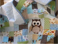 Made to order: Handmade scrappy owl blue quilt, owl nursery decor, boys crib bedding, Modern baby quilt