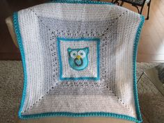 Crochet Owl Baby Blanket. Owl blanket in aqua, white and light grey for child and baby. Made to order.. $36.99, via Etsy.