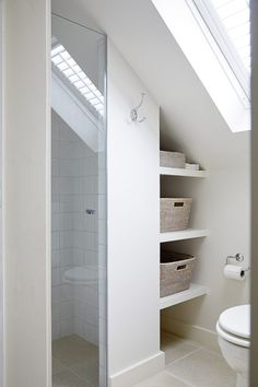 A contemporary farmhouse style location house in Wandsworth. Attic Shower, Small Attic Bathroom, Small Shower Room, Loft Ensuite, Loft Bathroom, Garden Bathroom, Bathrooms, Loft Interior Design, Bathroom Interior Design