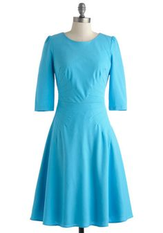 Goes Without Saying Dress, #ModCloth Gorgeous color with darts radiating out at the waist and elbow sleeves, jewel neck and modest length this is a winner!
