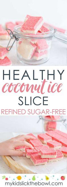 healthy coconut ice slice an easy recipe, low sugar, paleo, vegan #coconutice