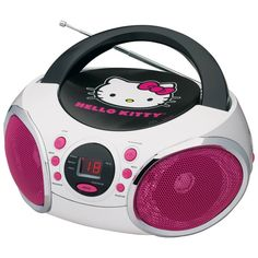The Hello Kitty Portable AM/FM Stereo CD Boombox can play the radio, CDs, or a portable media player. Built-in aux-in jack to allow easy connection to an external audio source like an MP3 player and t