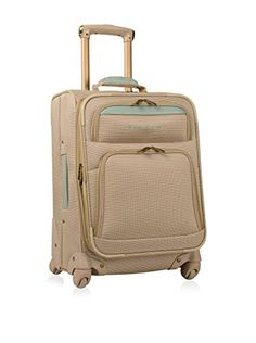 Tommy Bahama Mama 20 Expandable Spinner, Champagne/Light Blue: This tommy bahama expandable spinner carry on is made with a durable 1600 x 1200 dobby polyester fabric. It features brass hardware and basket weave trim. Cheap Luggage, Luggage Sale, Luggage Online, Carry On Suitcase, Carry On Luggage, Best Travel Luggage, Samsonite Luggage, Bahama Mama, Checked Luggage