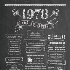 Retro Chalkboard / Jahrgangsposter 1978 Details