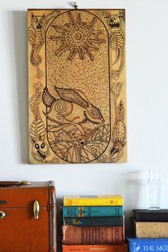 Wooden Pyrography Art Watership Down