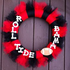 Alabama Tide Wreath Crimson Tulle for Front Door by WeHaveWreaths, $40.00