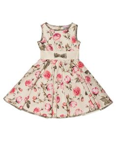 MONNALISA Ecru Roses Cotton Princess Dress