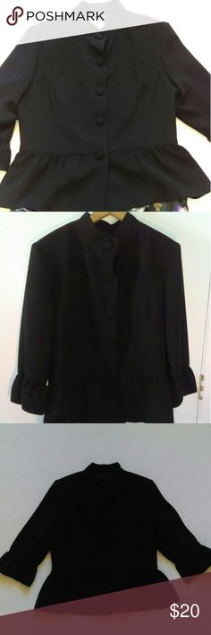 NWOT Neiman Marcus Exclusive black blazer NWOT tags black blazer, still has extra buttons attached to sleeve. Has feminine ruffled look at hem and sleeves, 3/4 length sleeves. Neiman Marcus Jackets & Coats Blazers