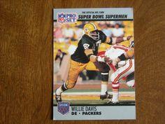 Willie Davis Green Bay Packers Super Bowl XXV Supermen  75 - 1990 NFL Pro  Set Football Card b28ce9d25