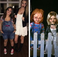 Cheap DIY costume of Chucky u0026 bride Tiffany #DIY #HALLOWEEN #Costume  sc 1 st  Pinterest & IG: _themakeupaddict | halloween | Pinterest | Costumes Halloween ...