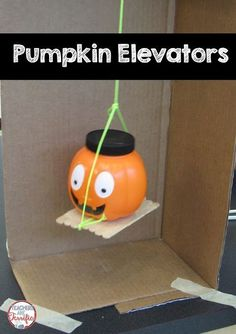 STEM Challenge: Can your littles build an elevator to lift a pumpkin? Challenge them! Steam Activities, Halloween Activities, Autumn Activities, Science Activities, Science Experiments, Science Topics, Science Ideas, Elementary Science, Teaching Science