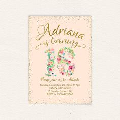 Sweet sixteen sweet 16 watercolor floral floral invitation