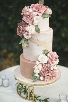 Summer Wedding Cakes, Wedding Cake Roses, Dusty Rose Wedding, Floral Wedding Cakes, Wedding Cake Rustic, Elegant Wedding Cakes, Wedding Cakes With Flowers, Beautiful Wedding Cakes, Wedding Cake Designs