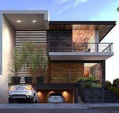 Fachadas de casas con barandal moderno