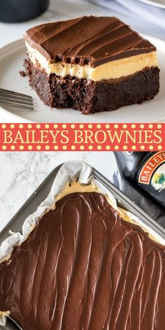 These fudgy, boozy Baileys brownies are the perfect grown-up dessert. With a layer of Irish cream frosting and Irish cream ganache on top! from Just So Tasty # irish desserts Baileys Brownies Irish Desserts, 13 Desserts, Alcoholic Desserts, Brownie Desserts, Holiday Desserts, Brownie Recipes, Cake Recipes, Holiday Cookies, Tasty Recipes For Dessert
