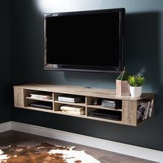 Shop the latest collection of South Shore City Life Wall Mounted Media Console, 66 , Weathered Oak from the most popular stores - all in one place. Diy Tv Wall Mount, Hanging Tv On Wall, Wall Mount Tv Stand, Diy Wall, Wall Mount Entertainment Center, Entertainment Shelves, Wall Mounted Media Console, Wall Mounted Shelves, Shelf Wall