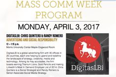 DigitasLBi's Chris Quintero and Randy Romero, as part of the second phase of the 2016-17 Scripps Howard Foundation Visiting Professors Program, were the headliners for Southern Illinois University-Edwardsville's Mass Comm Week.  Visiting Professor Mark Poepsel planned their visit and was their host April 3-5, 2017.