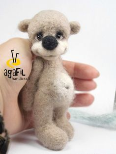 RESERVED. Collectible needle felted teddy bear Bessof. by Agafil