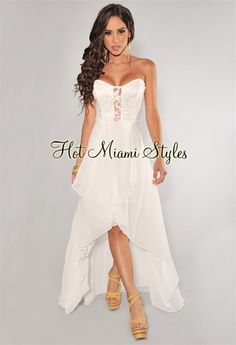 Ivory Lace Accent High-Low Strapless Maxi Dress. Perfect for bridal shower!
