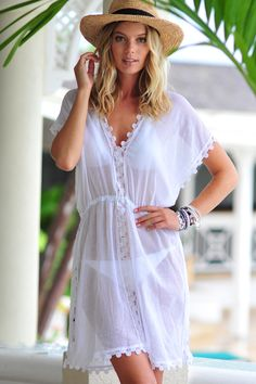 Seafolly Tidal Wave Field of Dreams Dress - White White Kaftan, White Dress, Beach Kaftan, Moda Chic, Beach Attire, Boating Outfit, Beachwear Fashion, Seafolly, White Outfits