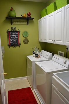 I think I need to paint my laundry room a fun color to help distract from the kitty litter smell... wonder what color that would be!