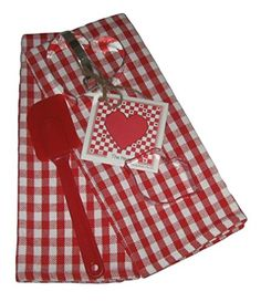 Red and White Gingham Plaid Kitchen Set  Dish Towels Cookie Cutters Spatula Recipe 6 Items ** You can find out more details at the link of the image.