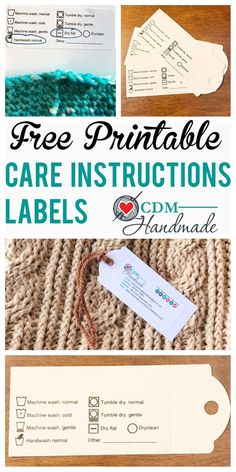 FREE Printable Care Instructions Labels for Crafters – CDM Handmade labels printable free Free Printable Tags, Free Printables, Crochet Gifts, Free Crochet, Crochet Craft Fair, Craft Fair Displays, Gift Labels, Gift Tags, Handmade Tags