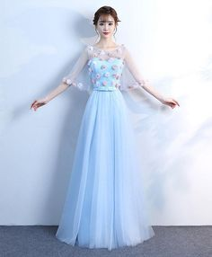 party prom dress , blue prom dress with flowers ,cheap prom dress 2970 Prom Dresses With Sleeves, Prom Dresses Blue, Cheap Prom Dresses, Prom Party Dresses, Dresses For Teens, Homecoming Dresses, Pretty Dresses, Green Evening Gowns, Evening Dresses
