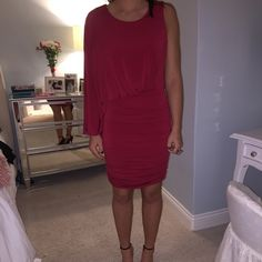 Red BCBG Dress WORN ONCE! Absolutely beautiful! Perfect for any event!! Awesome condition!! BCBGMaxAzria Dresses Midi