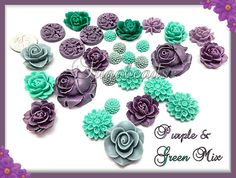 30 Mixed Resin Flower Flatback Cabochons Purple and by sugabeads,